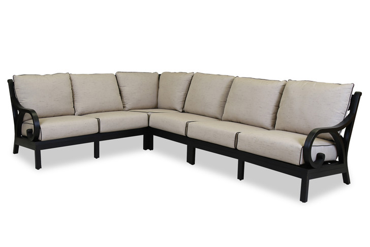 Monterey Sectional With Cushions In Frequency Sand With Canvas Walnut Welt