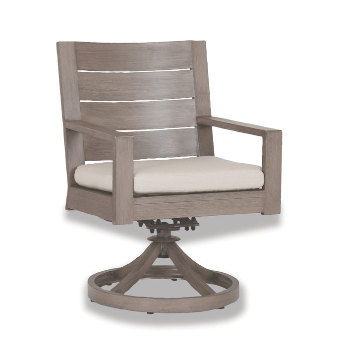 Laguna Swivel Dining Chair with cushions in Canvas Flax