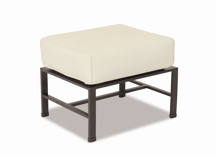 La Jolla Ottoman with cushions in Canvas Flax with self welt