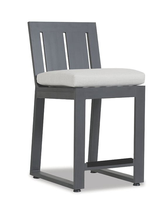 Redondo Counter Stool With Cushions In Cast Silver