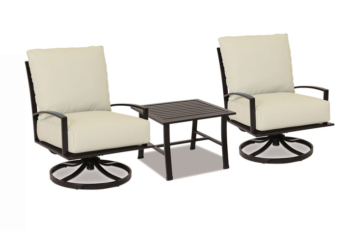 La Jolla Swivel Clubs With End Table