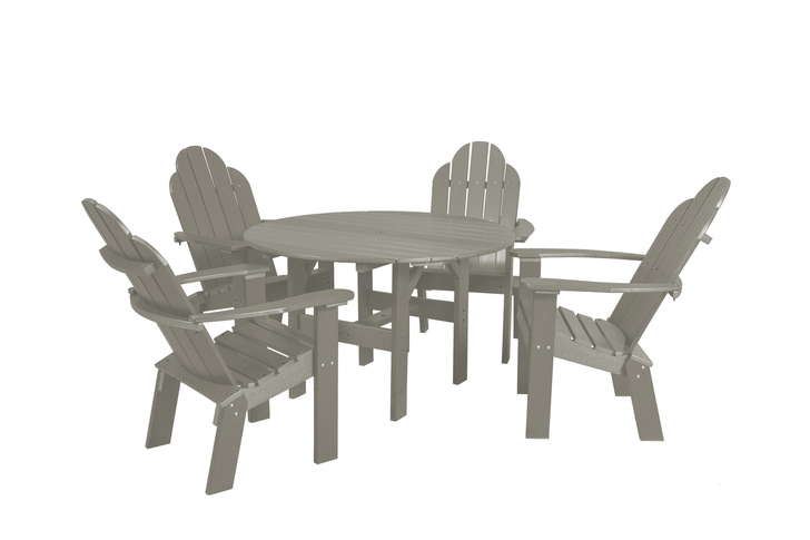 """Wildridge Classic Poly-Lumber 46"""" Round Dining Table With 4 Dining/Deck Chairs"""