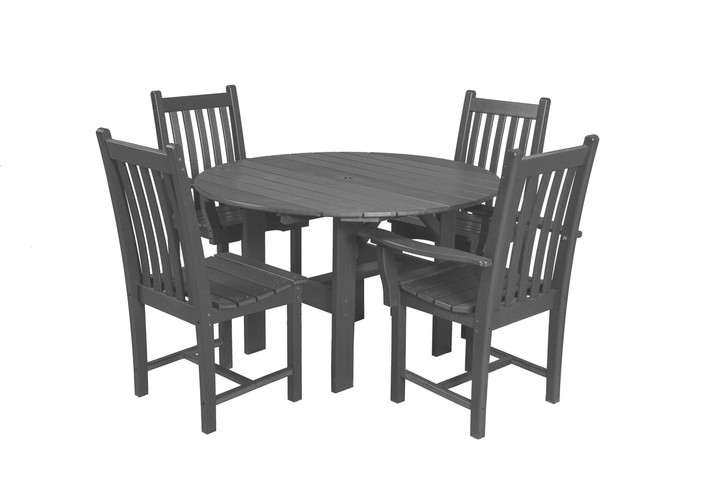 """Wildridge Classic Poly-Lumber 46"""" Round Dining Table With 2 Dining Side Chairs and 2 Dining Arm Chairs"""