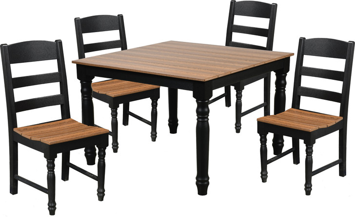 Wildridge Farm House Poly-Lumber Dining Table With 4 Dining Side Chairs