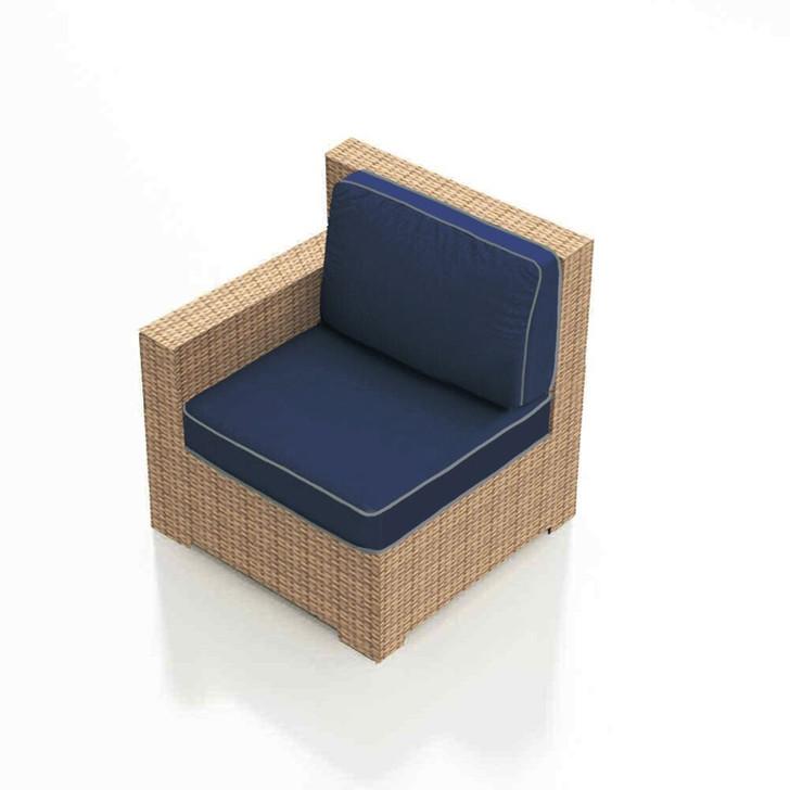 Forever Patio Hampton Wicker Sectional Left Arm Facing Chair Biscuit Sunbrella Spectrum Indigo With Spectrum Dove Welt