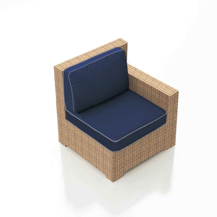 Forever Patio Hampton Wicker Sectional Right Arm Facing Chair Biscuit Sunbrella Spectrum Indigo With Spectrum Dove Welt