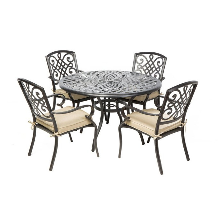 """Alfresco Home Barcelona Dining Set With 48"""" Round Dining Table"""
