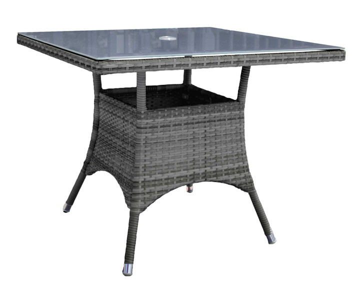 """Hospitality Rattan Ultra Square 36"""" Dining Table w/ Grey Glass"""