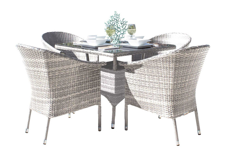 Hospitality Rattan Athens 5 PC Woven Armchair Dining Set with Cushions