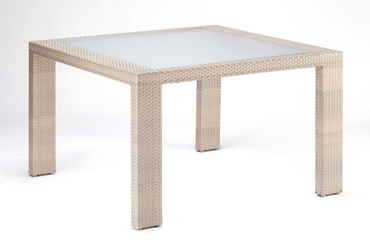 Hospitality Rattan Rubix Square Woven Dining Table with Glass