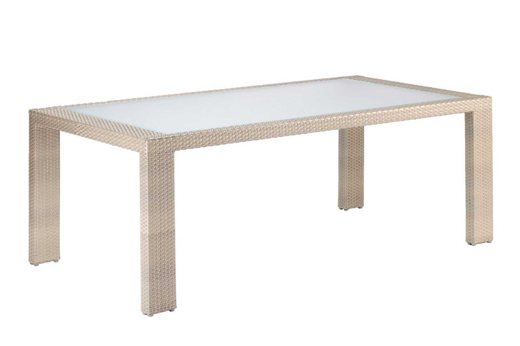 Hospitality Rattan Rubix Rectangular Woven Dining Table with Glass