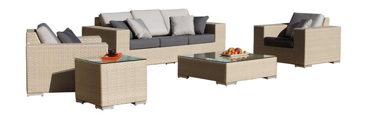 Hospitality Rattan Rubix 5 PC Seating Set with Cushions