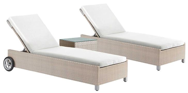 Hospitality Rattan Rubix 3 PC Chaise Lounge Set with Cushions