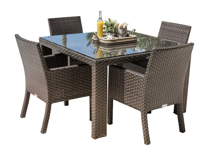 Hospitality Rattan Fiji 5 PC Arm Chair Dining Set with Cushions