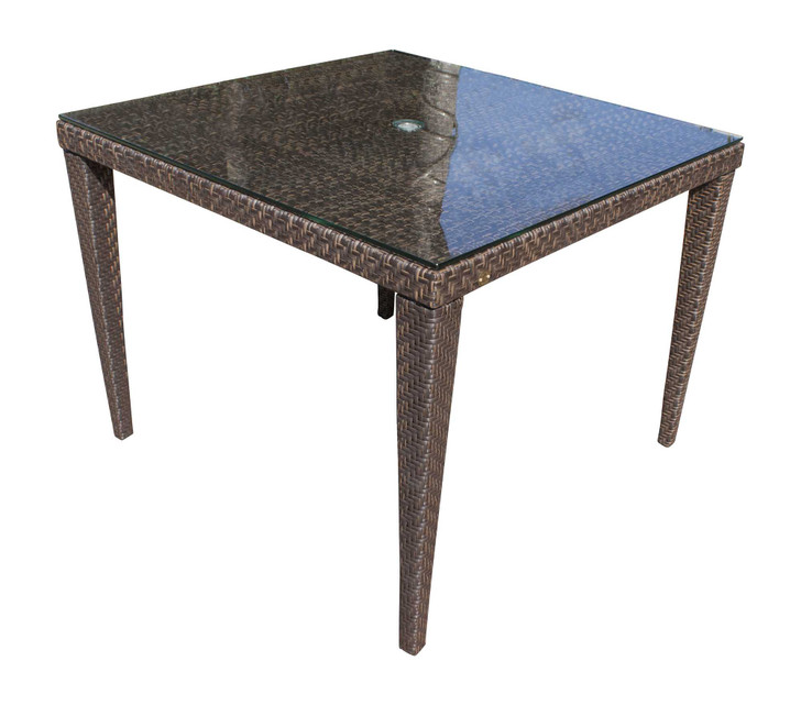 """Hospitality Rattan Soho Patio Woven Square 40"""" Dining Table with Glass"""