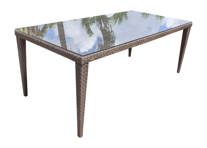 """Hospitality Rattan Soho Patio Large Rectangular 78"""" Woven Dining Table with Glass"""