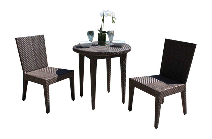 Hospitality Rattan Soho 3 PC Dining Side Chair Bistro Group with Cushions