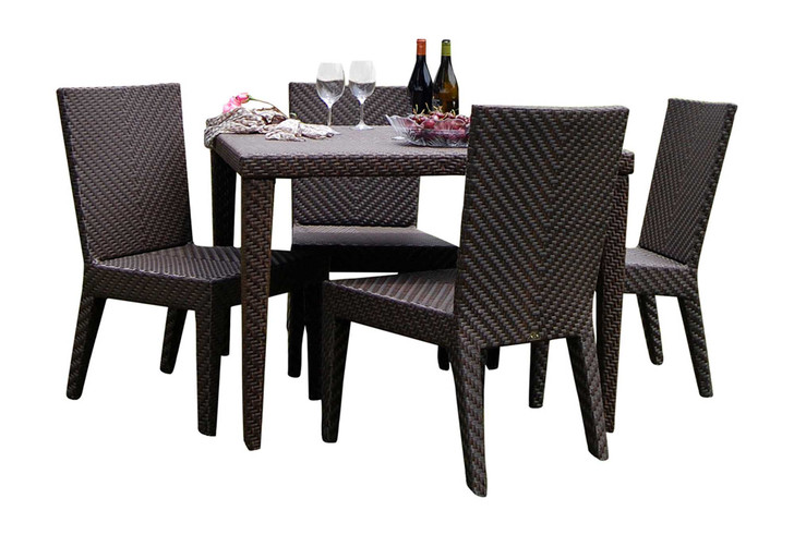 Hospitality Rattan Soho 5 PC Square Dining Side Chair Group with Cushions