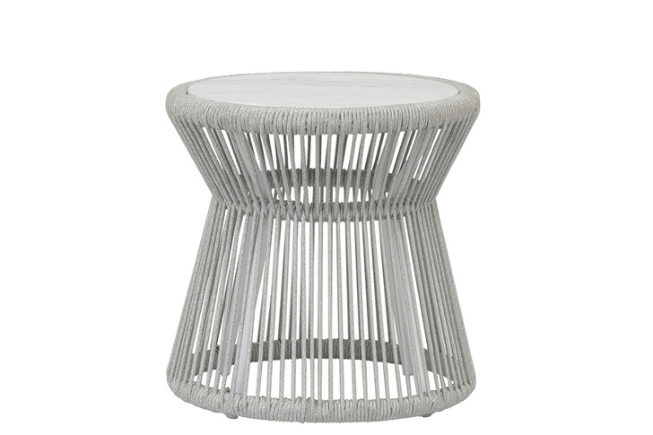 Miami End Table with Honed Carrara Marble Top
