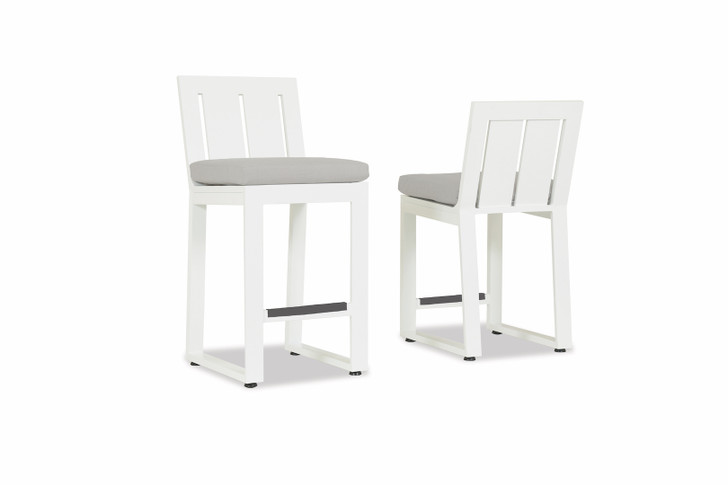 Newport Counter Stool with cushion in Cast Silver