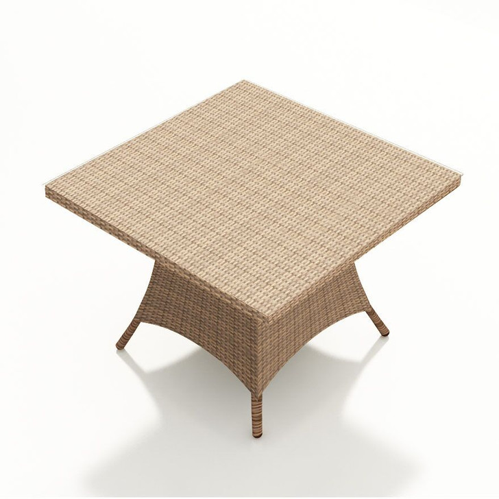 Forever Patio Hampton Wicker 48 Inch Square Dining Table Biscuit