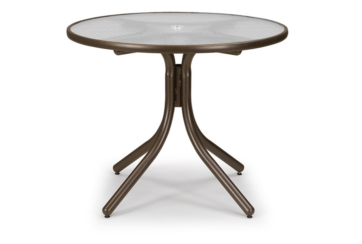 """Dining Height Table with Glass 36"""" Round Table Top w/ Umbrella Hole"""