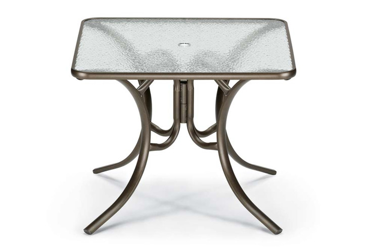 """Dining Height 36"""" Square Glass Table with Umbrella Hole"""