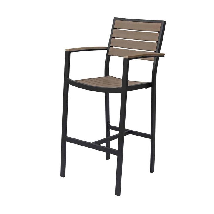 Source Furniture Napa Bar Arm Chair - Black Frame & Gray Durawood