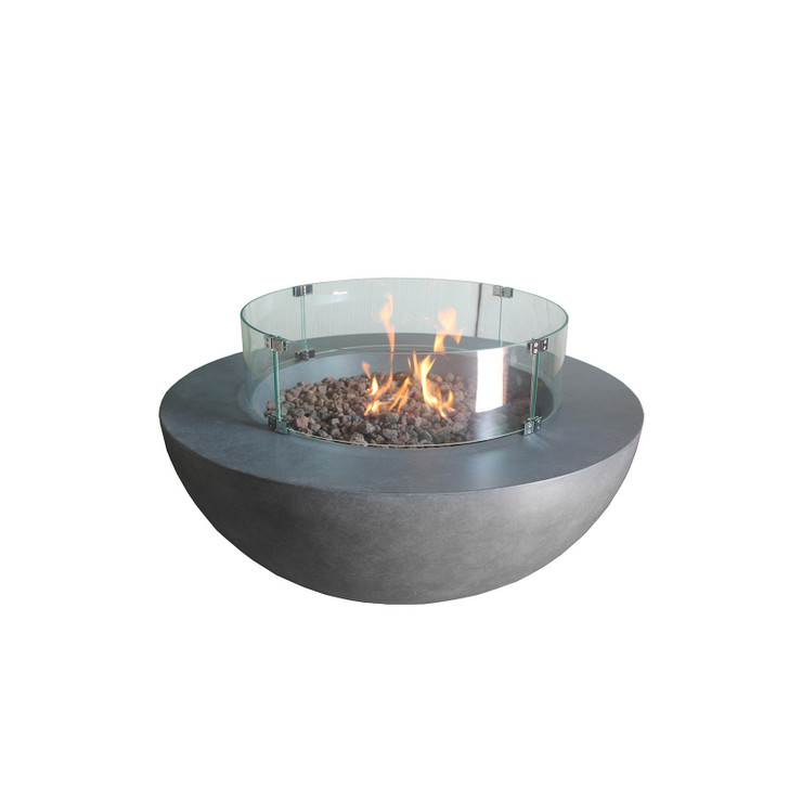 Elements Round Concrete Fire Pit - Glass Wind Guards
