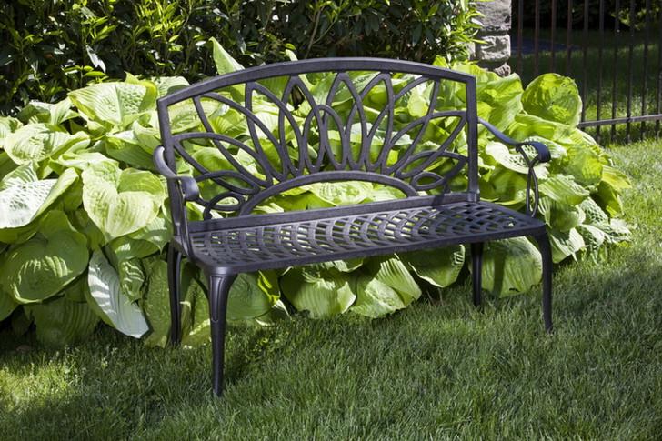 Alfresco Home Daffodil Cast Aluminum Garden Bench