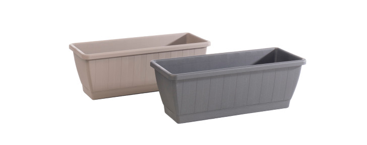 Alfresco Home Kezar Plant Blox w/ Attached Oblong Tray - Anthracite Grey