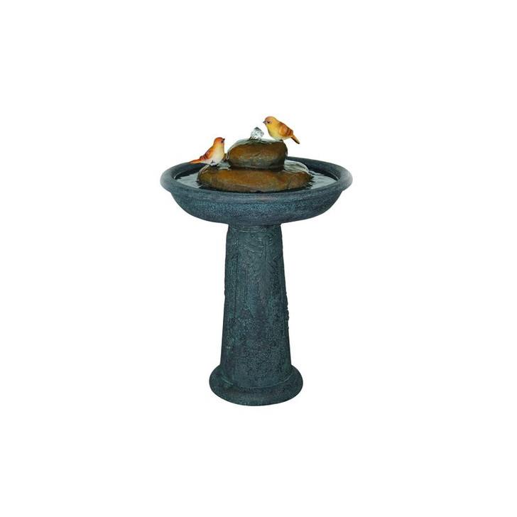 Alfresco Home Birdbath Resin Fountain w/ Pump