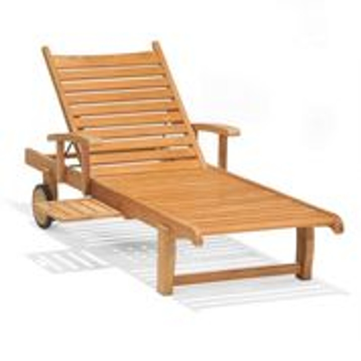 Forever Patio Universal Teak Single Adjustable Chaise Lounge w/ Arm