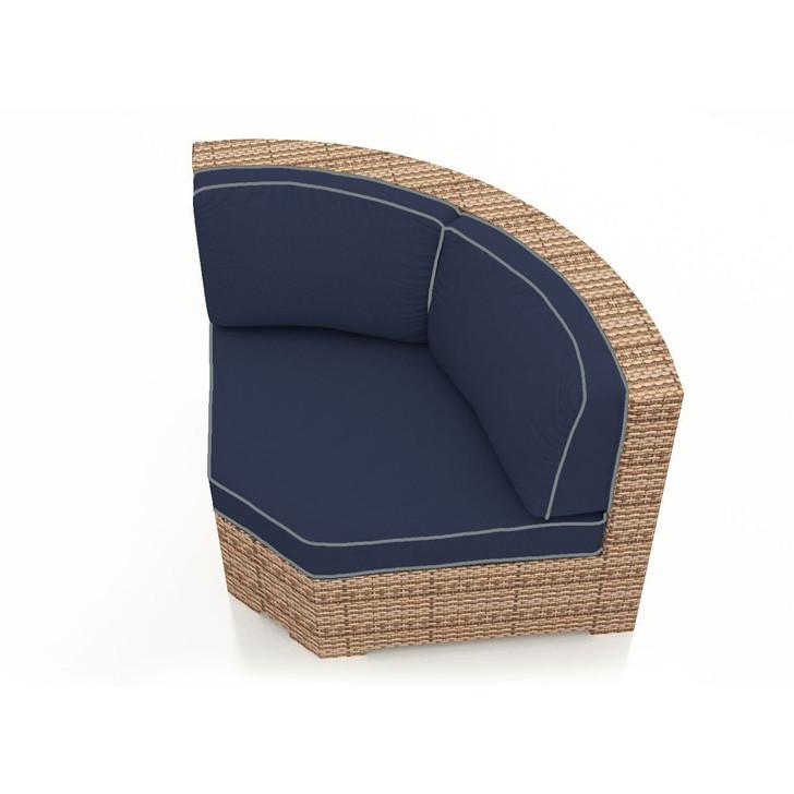 Forever Patio Hampton Wicker Sectional Curved Corner Chair Biscuit Sunbrella Spectrum Indigo With Spectrum Dove Welt