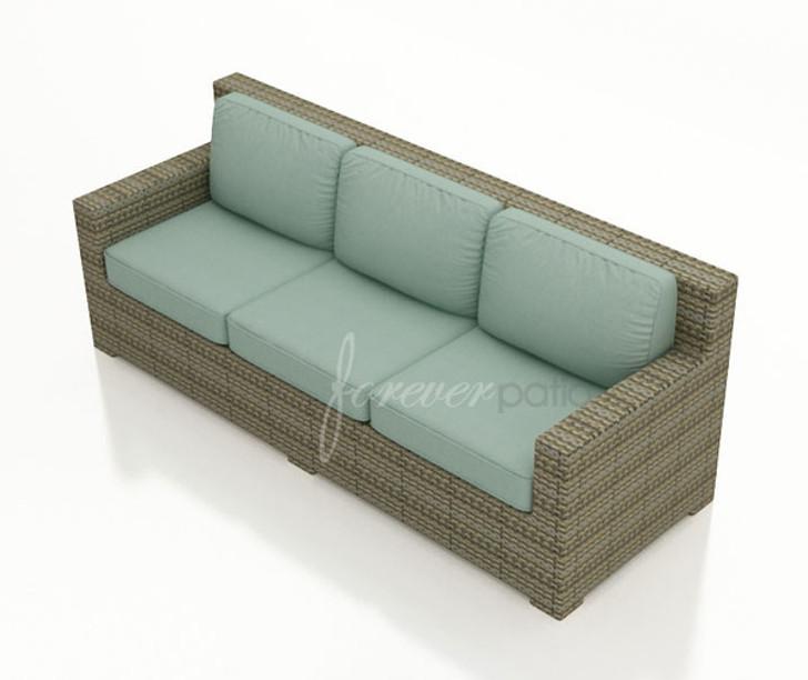 Forever Patio Hampton Wicker Straight Sofa Heather With Sunbrella Canvas Spa With Self Welt