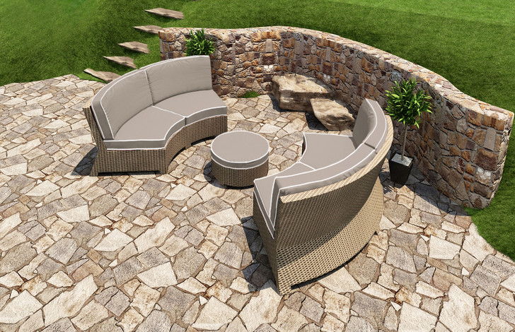 Forever Patio Barbados Wicker Curved 3 Piece Sectional Set Biscuit, Canvas Taupe With Canvas Linen Canvas Welt Sunbrella Fabric