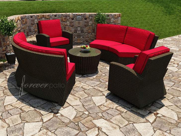 Forever Patio Barbados Wicker 5 Piece Curved Sectional Set Ebony, Flagship Ruby With Canvas Bay Brown Welt Sunbrella Fabric