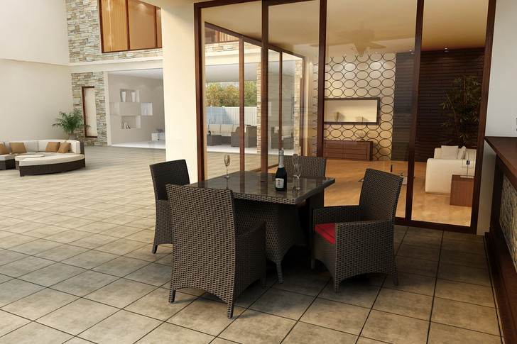 """Forever Patio Barbados Resin Wicker 5 Piece 48"""" Square Dining Set Ebony, Flagship Ruby With Canvas Bay Brown Welt Sunbrella Fabric"""