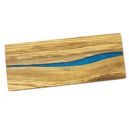 MarnaMaria Spices and Herbs Olive Wood Cutting Board with Blue Resin Inset