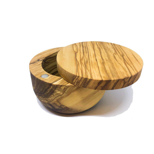 MarnaMaria Spices and Herbs Olive Wood Salt Cellar with Magnetic Lid