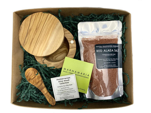 MarnaMaria Spices and Herbs Salt Cellar with Salt and Spoon Gift Box