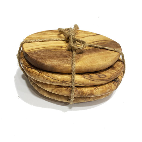 MarnaMaria Spices and Herbs Natural Round Olive Wood Coasters