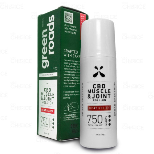 Green Roads Muscle and Joint Heat Relief Roll-On 3oz, 750mg