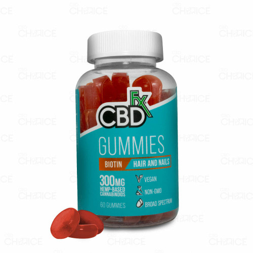 A bottle of CBDfx Biotin Gummies for Hair and Nails, 60 count
