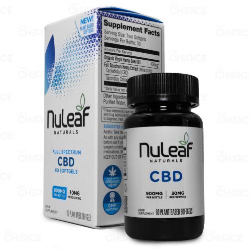 NuLeaf Naturals Full Spectrum CBD Softgels 60 count, 900mg