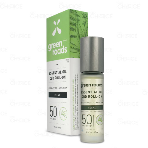 Green Roads Relax Eucalyptus Lavender Essential Oil Roll-On 10ml, 50mg