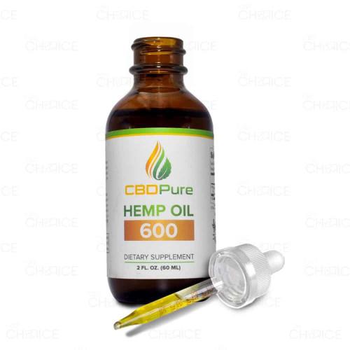 A bottle of CBD Pure CBD Hemp Oil 60ml 600mg