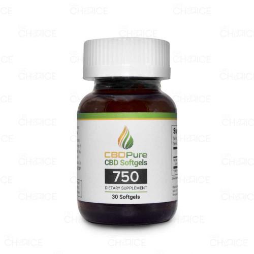 A bottle of CBD Pure CBD Softgel Capsules, 30 Count