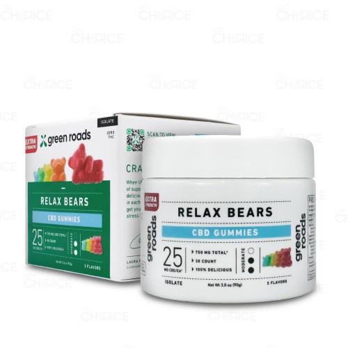 Green Roads Gummy CBD Relax Bears 30 count, 750mg