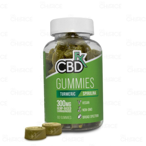 A bottle of CBDfx or Turmeric and Spirulina CBD Gummy Bears, 60 count